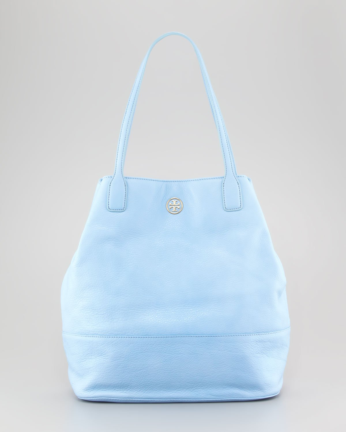 Lyst - Tory Burch Michelle Pebbled Leather Tote Bag Light Blue in Blue 948b5f6c13fc2
