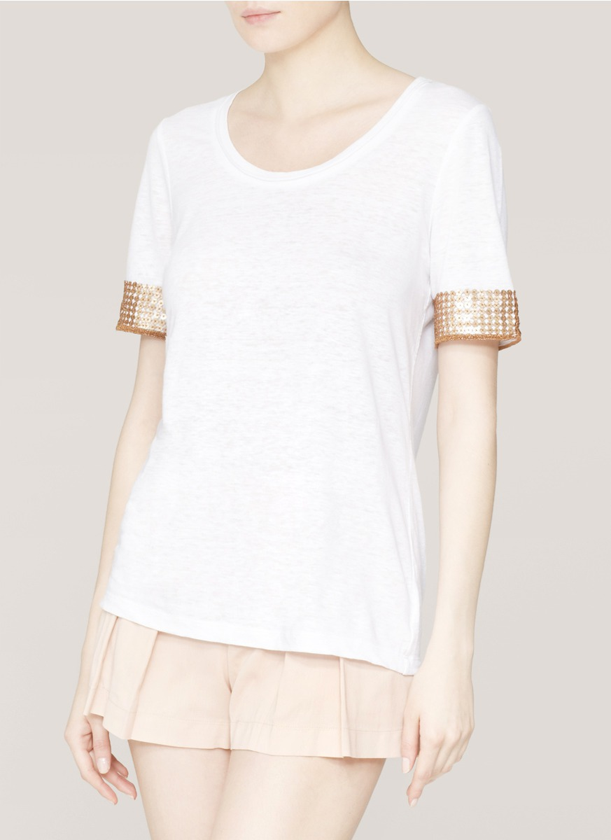 Tory burch damien embellished sleeve t shirt in white lyst for Tory burch t shirt