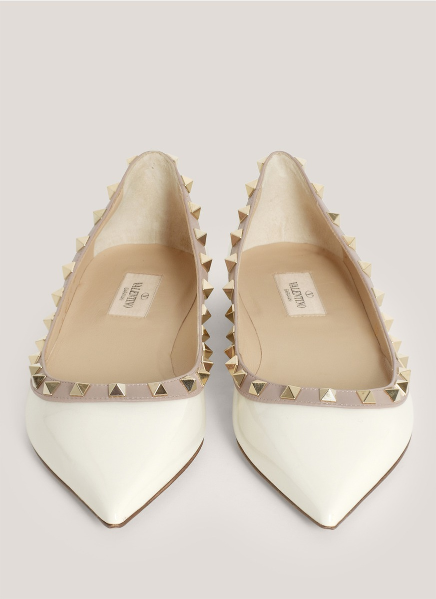 Wedding Table White Flats valentino studded pointed toe flats in white lyst gallery
