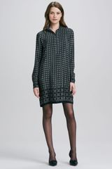 Vince Longsleeve Printed Shirtdress - Lyst