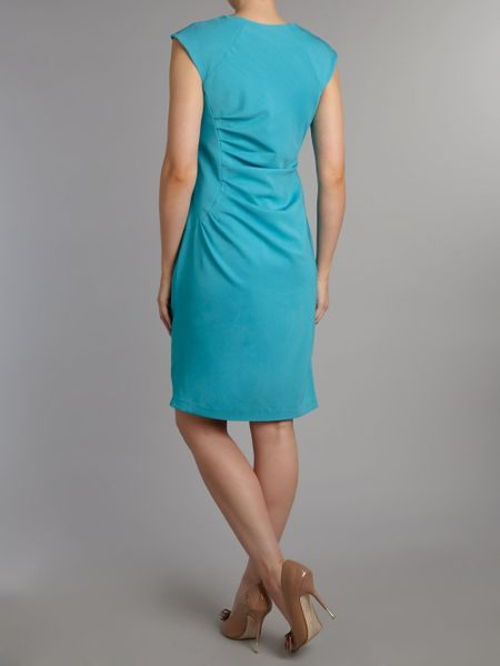 Adrianna Papell Side Pleat Sheath Dress In Blue Turquoise