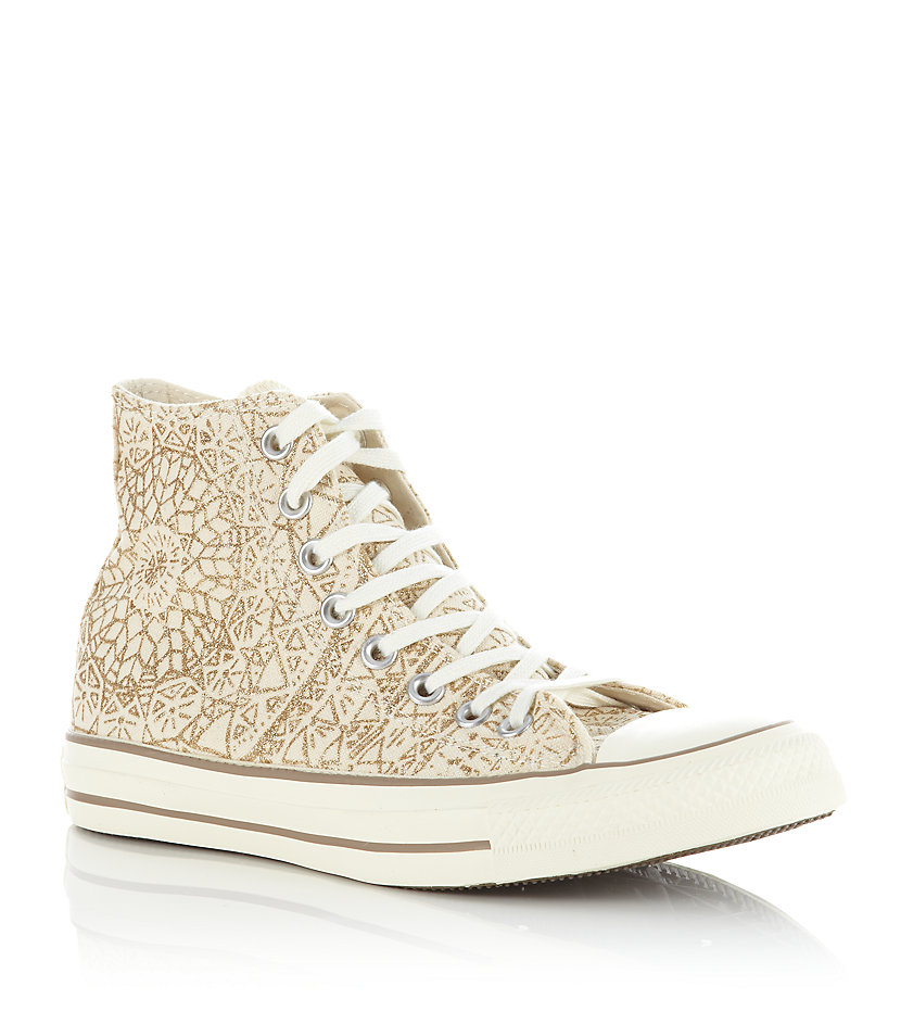 Converse Chuck Taylor Snowflake Sparkle Hi Tops In Natural
