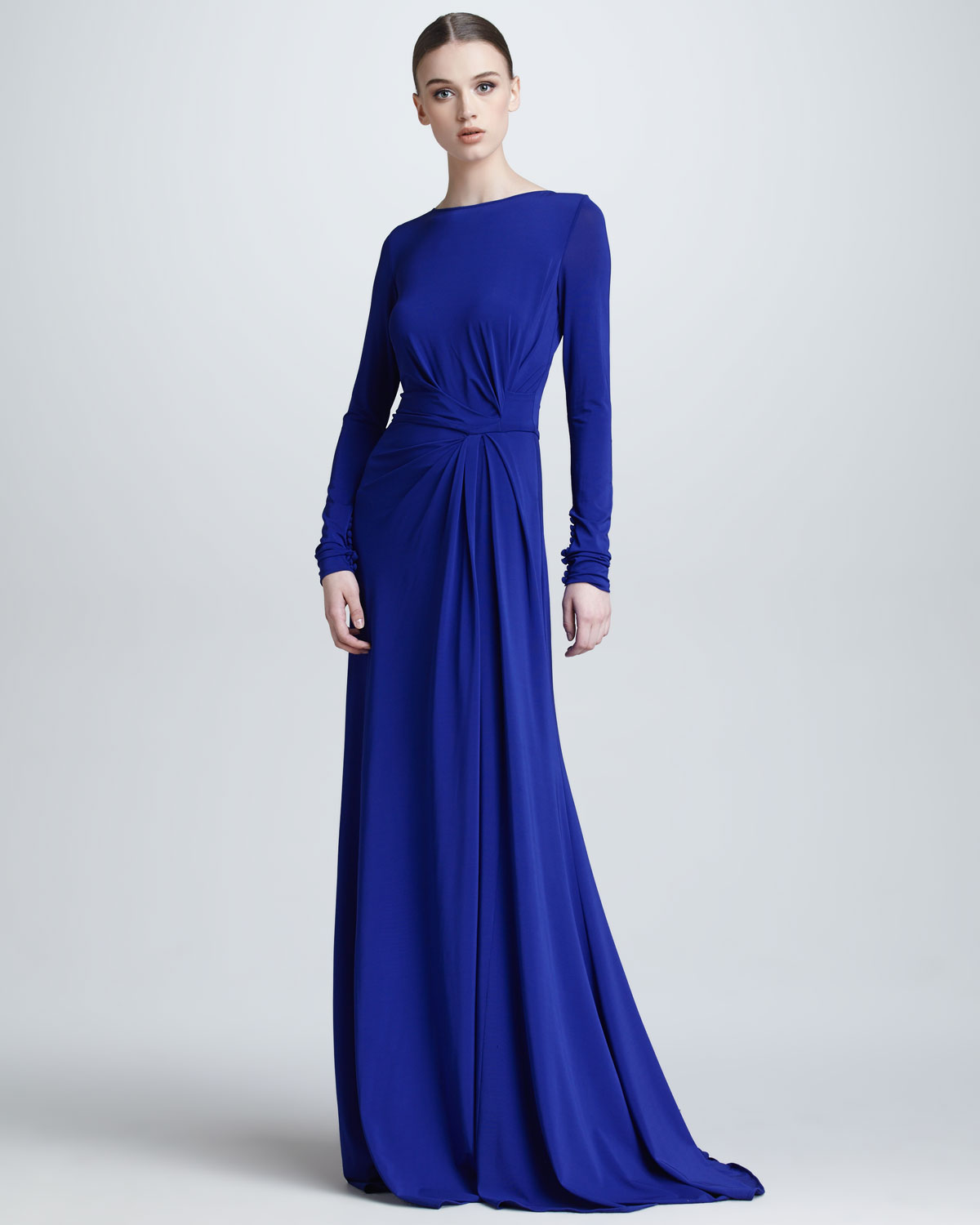 Lyst Elie Saab Long Sleeve Gathered Jersey Gown In Blue