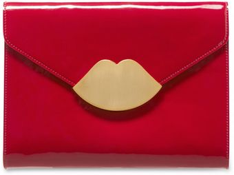 Lulu Guinness Red Patent Leather Small Envelope Clutch - Lyst
