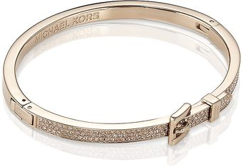 Michael Kors Gold Pavé Buckle Bangle - Lyst