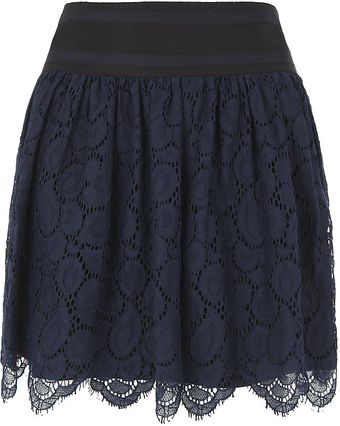 Milly Margaret Scalloped Lace Skirt - Lyst