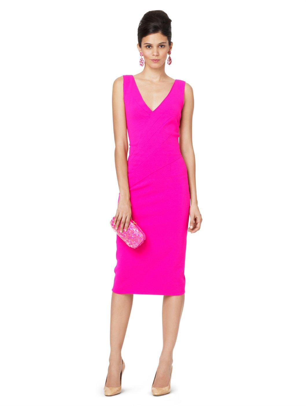 Oscar de la renta Sleeveless Vneck Drape Front Dress in Pink - Lyst