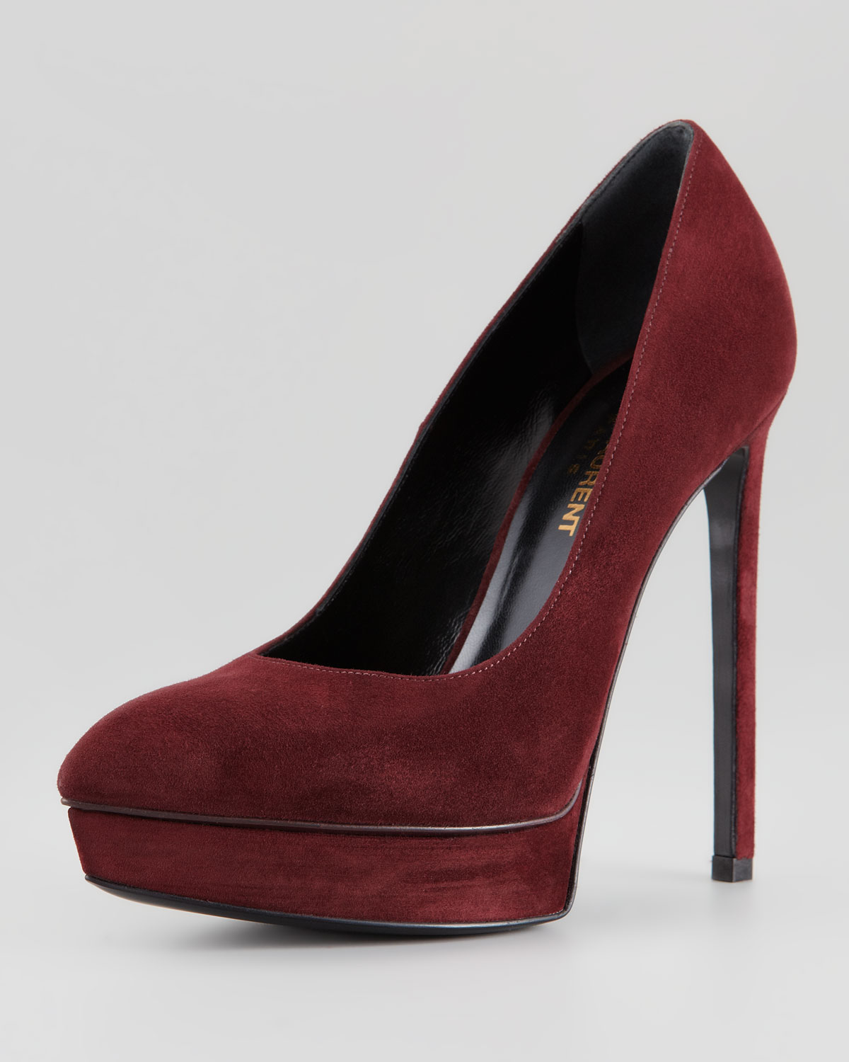 saint laurent suede pointedtoe platform pump bordeaux in red lyst. Black Bedroom Furniture Sets. Home Design Ideas