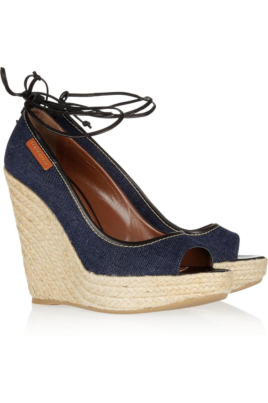 shoeniverse sergio rossi blue denim wedge sandals on sale. Black Bedroom Furniture Sets. Home Design Ideas