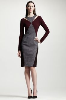 Stella McCartney Tweed Panel Twotone Knit Dress - Lyst