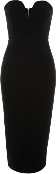 Tfnc Halo Strapless Midi Dress - Lyst