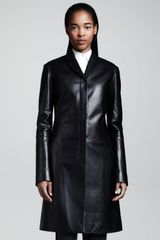 The Row Midlength Leather Coat - Lyst