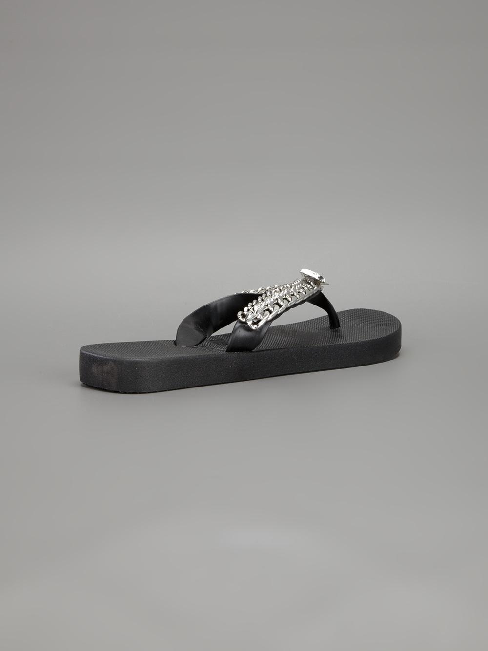 Uzurii Chain Detail Flip Flop In Black For Men Lyst