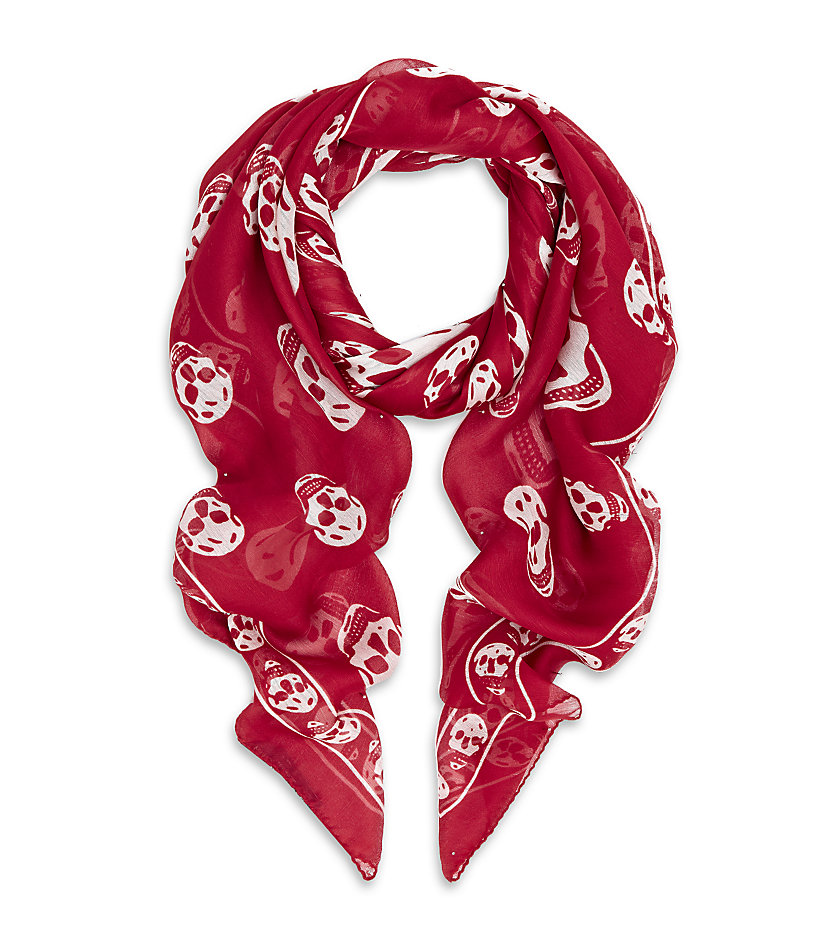 Fashion week Mcqueen Alexander skull scarf red for woman