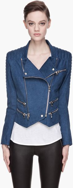Balmain Blue Quilted Denim Sprint Biker Jacket - Lyst