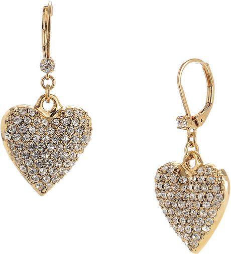 Betsey Johnson Crystal Heart Drop Earrings In Gold