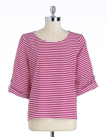 Calvin Klein Striped Rolltab Blouse - Lyst