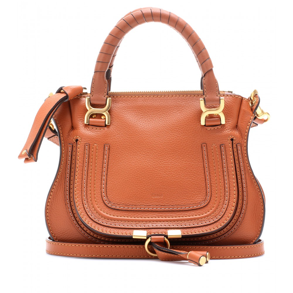 Chlo¨¦ Baby Marcie Leather Handbag in Brown (tan) | Lyst