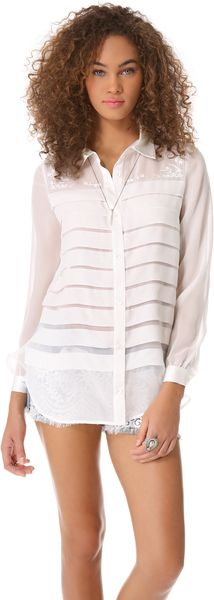 Haute Hippie Wide Pleated Blouse - Lyst