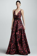 Jason Wu Printed Silk Ball Gown Rubyblack - Lyst