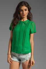 Marc By Marc Jacobs Crystal Textured Silk Top in Green - Lyst