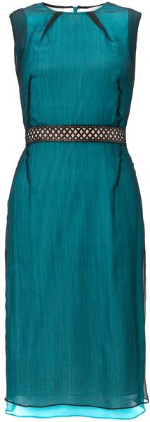 Marios Schwab Teal Chiffon Layer Dress - Lyst