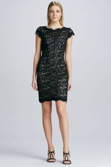 Black Lace Cocktail Dress on Ml Monique Lhuillier Black Corseted Lace Cocktail Dress