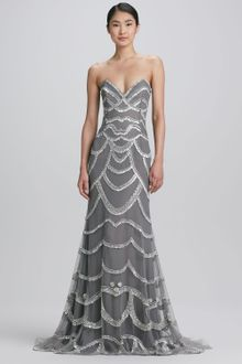 Naeem Khan Beaded Strapless Gown - Lyst