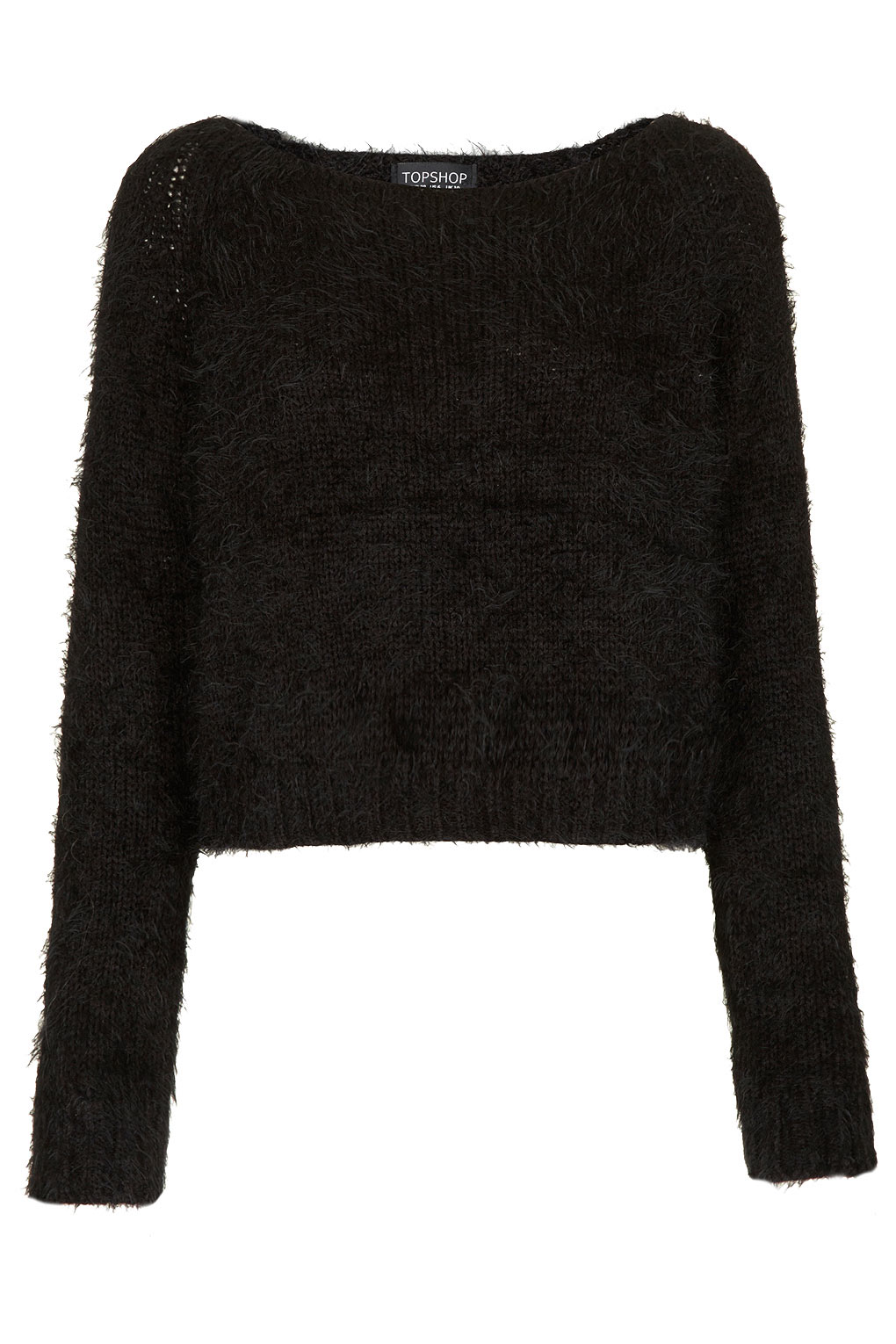 Topshop Knitted Fluffy Crop in Black Lyst