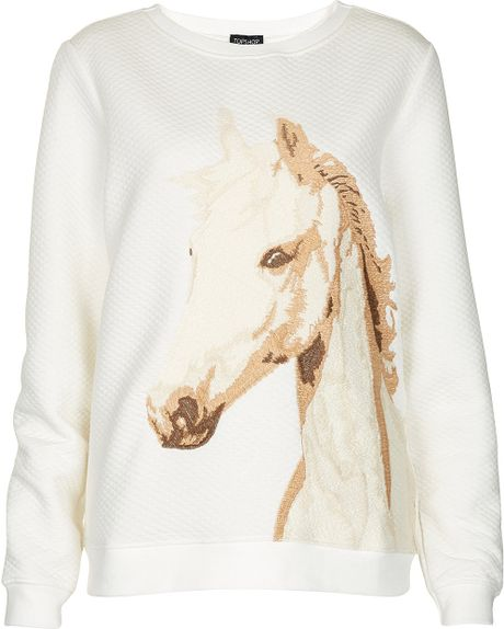 Topshop embroidered horse sweat in white cream lyst