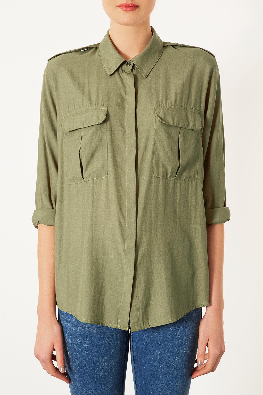 Safari Shirt Cognac Heels: Topshop Casual Safari Shirt In Natural