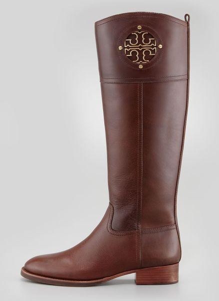 tory burch kiernan leather logo riding boot almond in