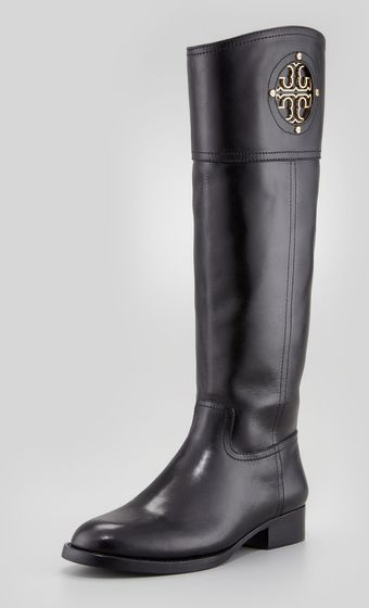 Tory Burch Kiernan Leather Logo Riding Boot - Lyst