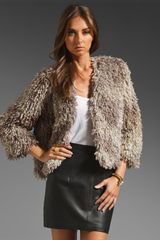 Anna Sui Mongolian Faux Fur Jacket in Gray - Lyst