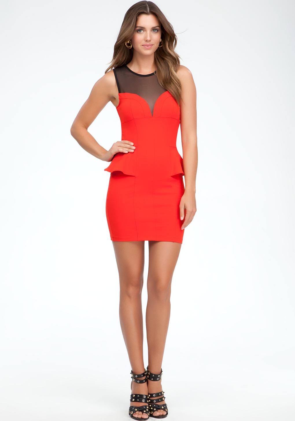 Bebe Mesh Yoke Peplum Dress In Red Lyst