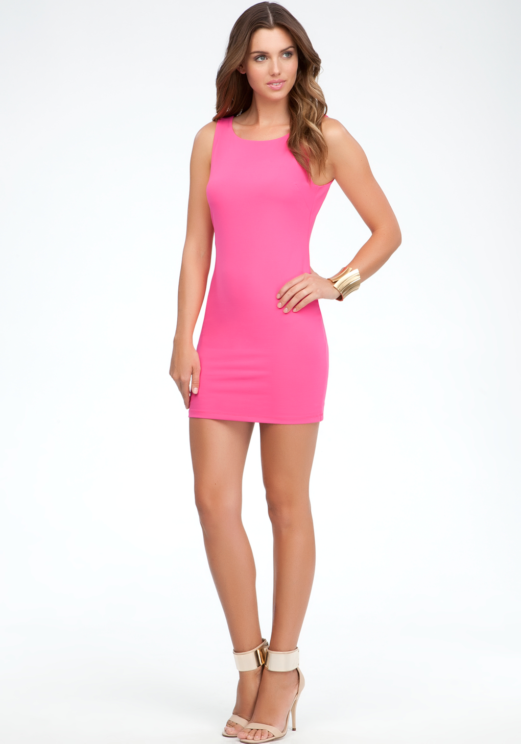 Bebe Exposed Back Bodycon Dress in Pink | Lyst