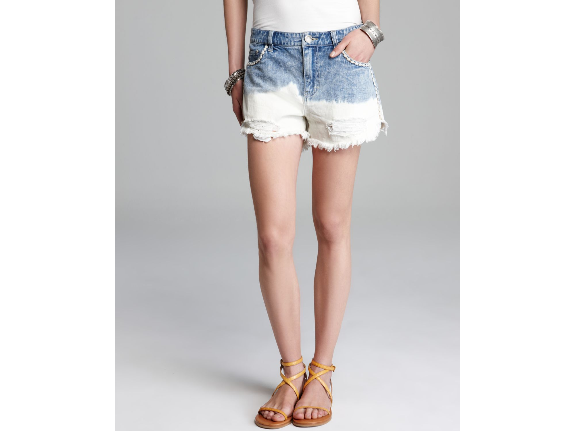 0a27b6c74f Free People Shorts Ripped Denim Floral Embroidered Cutoffs in Blue ...