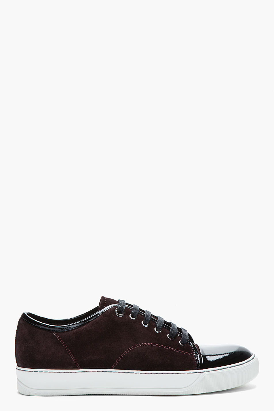 Lanvin Burgundy Patent And Suede Tennis Shoes In Red For