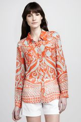 Milly Elisa Sheer Printed Blouse - Lyst