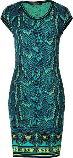 Roberto Cavalli Snake Print Knit Dress in Turquoisemulti - Lyst