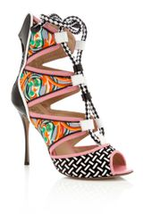 Peter Pilotto Beaded Rope Pink Printed Bootie