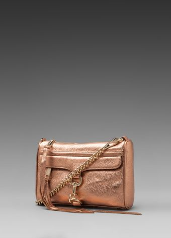 Rebecca Minkoff Mini Mac Clutch in Metallic Copper - Lyst
