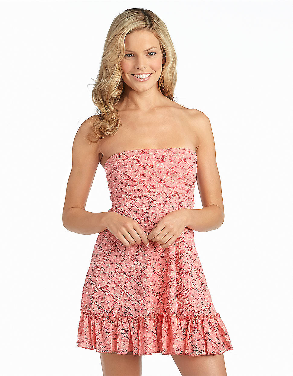083706feda291 Betsey Johnson Lace and Ruffle Bandeau Swim Coverup Dress in Orange ...