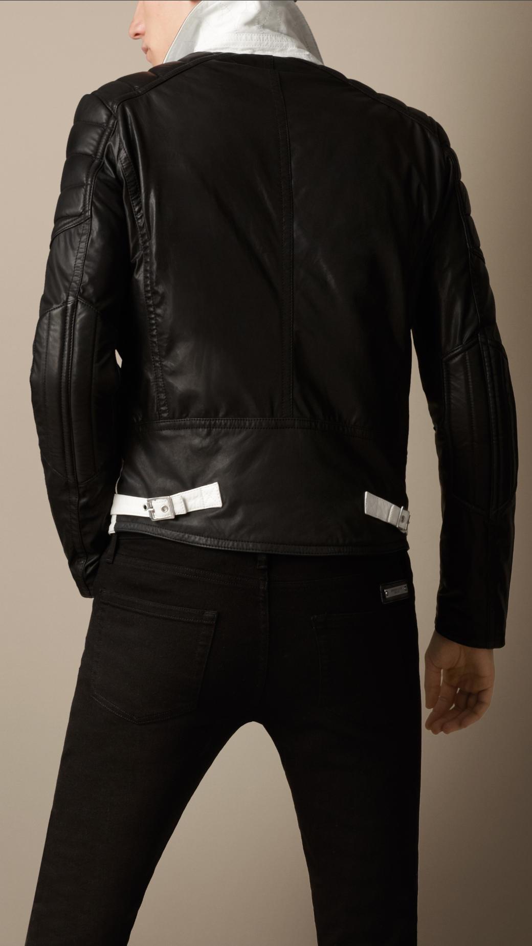 Lyst Burberry Contrast Sleeve Biker Jacket In White For Men