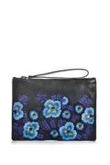 Christopher Kane Floral Embroidered Leather Clutch - Lyst
