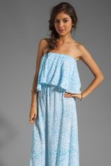 Indah Havi Strapless Tiered Maxi Dress in Blue - Lyst