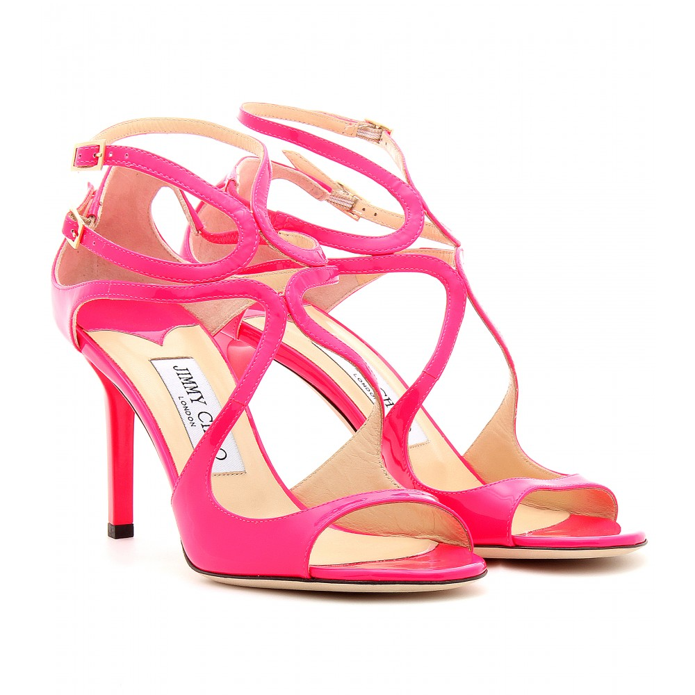 5150459f66ab ... shop jimmy choo pink ivette patent leather neon sandals 1ed8a cbd92