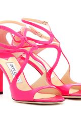 Jimmy Choo Ivette Patent Leather Neon Sandals