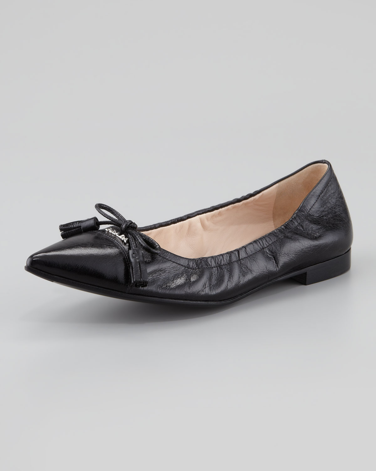 Prada Buckle Pointed-Toe Flats