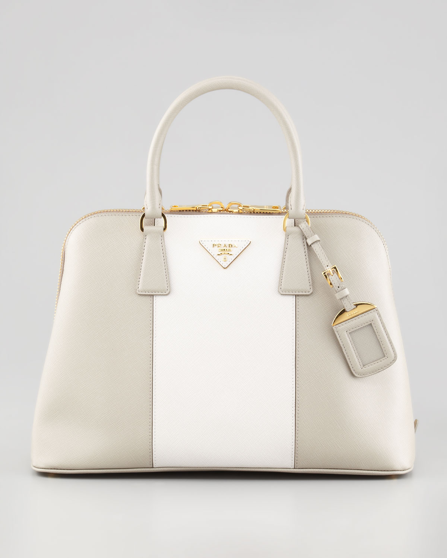 c07fd3e6cc4d Lyst - Prada Bicolor Saffiano Promenade Bag in White